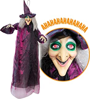 Besti Life Size Hanging Witch Halloween Decor (71 Inches) | Motion Activated Talking Halloween Decorations | Witch Props Excellent Choice for Haunted House | Indoor & Outdoor Animated Prop