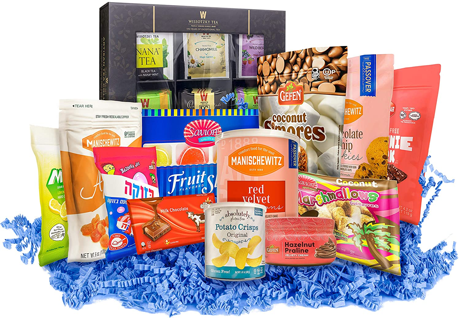 Gluten Free Kosher Sweets & Treats Gift Box   The Ultimate GF Variety Pack   Chocolates, Cookies, Macaroons, Teas, and more! All Gluten Free!   Share the Goodies with Family and Friends