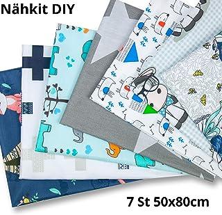 Tela algodon Telas Patchwork 7 piezas 50 x 80 cm - Retales Tela para coser, Telas decorativas Costura y Manualidades por metros OEKO-TEX (patrón de niños, 7 piezas 50 x 80 cm)