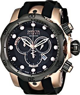Invicta Mens 0361 Reserve Collection Venom Chronograph 18k Black/Rose Gold-Plated Stainless Steel