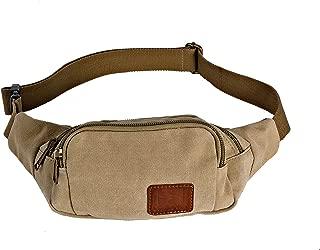Canvas Fanny Pack Sling Bag Hip Pack Waist Bag Chest Bag Belt Bag Pocket Bag Unisex Jogging Running Outdoor Khaki