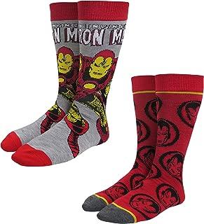 Marvel 2 Pack Men's Crew Socks, Red