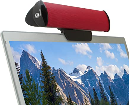 USB Laptop Speaker Clip-On Soundbar by GOgroove - SonaVERSE USB (Red) Portable