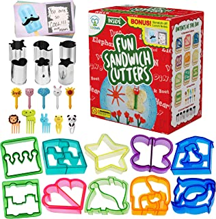 Fun Sandwich and Bread Cutter Shapes for kids - 10 Crust & Cookie Cutters - PLUS 6 FREE Mini Heart & Flower Stainless Steel Vegetable & Fruit Stamp Set and 10 Food Picks Loved by both Boys & Girls!