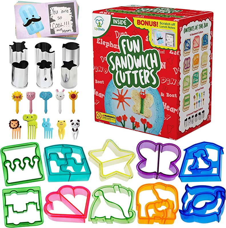 Fun Sandwich And Bread Cutter Shapes For Kids 10 Crust Cookie Cutters PLUS 6 FREE Mini Heart Flower Stainless Steel Vegetable Fruit Stamp Set And 10 Food Picks Loved By Both Boys Girls
