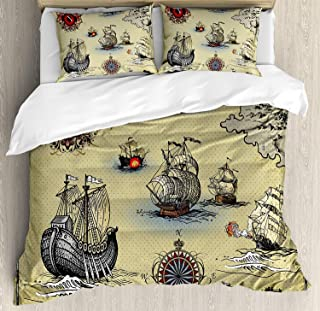 Compass 3 Pieces Duvet Cover Set, Antique Old Plan Discovery Ship Pirate Wave Compass Navigation Geography Theme, Decorative Bedding Sets, Comforter Cover with 2 Pillow Shams, Beige Red Grey,Queen