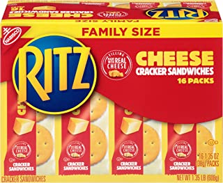 Ritz Cheese Cracker Sandwiches Snack Packs, Family Size, 16 Count Box, 1.35 Ounce