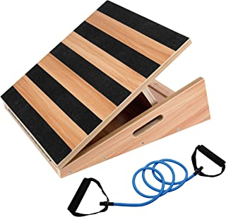 Professional Wooden Slant Board, Adjustable Incline Board and Calf Stretcher, Stretch Board - Extra Side-Handle Design for Portability