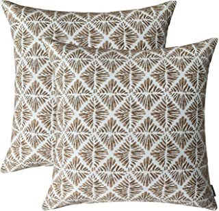 ROMANDECO Jacquard Decorative Throw Pillow Covers for Couch/Sofa/Bedroom, 2 Pack, 18x18 inch (45cm) (Brown)