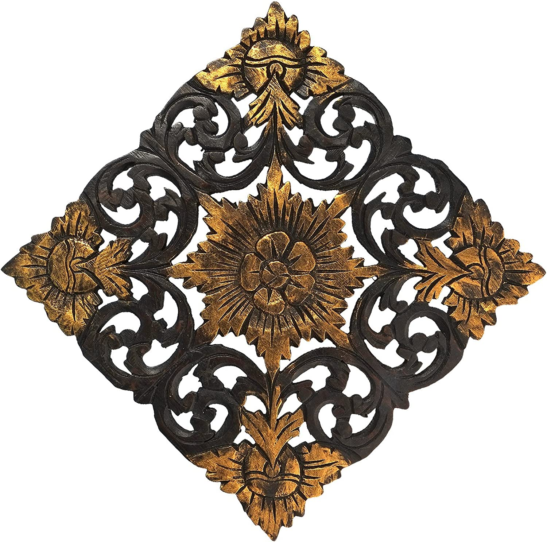 AeraVida Antique Flower 2 Tone Hand Panel Woo New color Teak Carved service Relief