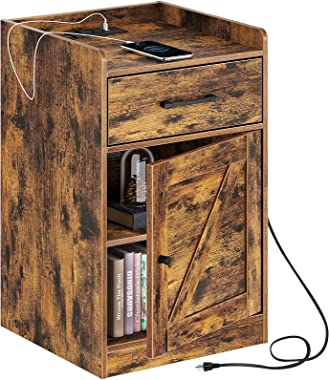 Rolanstar Nightstand with Charging Station, Farmhouse End Side Table with Storage Drawer and Cabinet for Bedroom, Rustic Brow