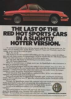 "Magazine Print Ad: 1986 Alfa Romeo Quadrifoglio Sport Sedan, 2.0 L, Removable Hardtop, Pininfarina-designed body,""The Last of the Red Hot Sports Cars in a Slightly Hotter Version"""