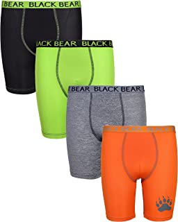 Black Bear Boys' Performance Dry-Fit Compression Long Boxer Brief (Pack of 4)