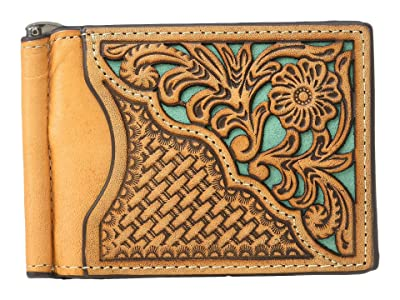M&F Western Nocona Filagree Corner Overlay Money Clip (Tan/Turquoise) Wallet