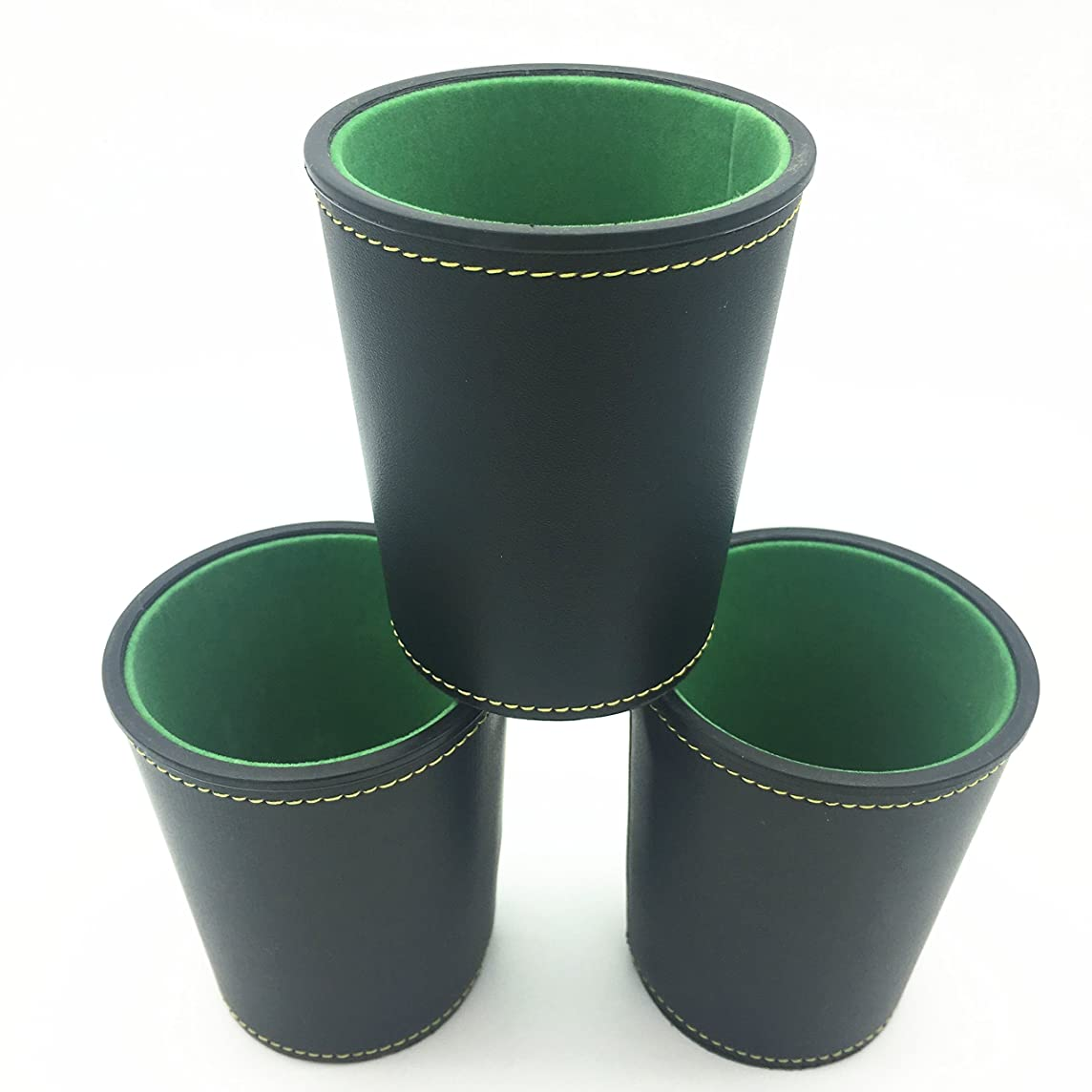 Truewon PU Leather Dice Cup with Green Felt Lining, Mini 3.5
