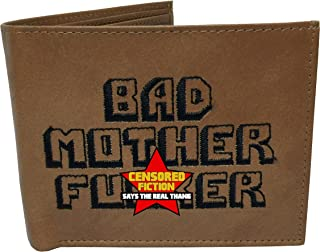 Embroidered Genuine Leather Wallet Brown Authentic BMF