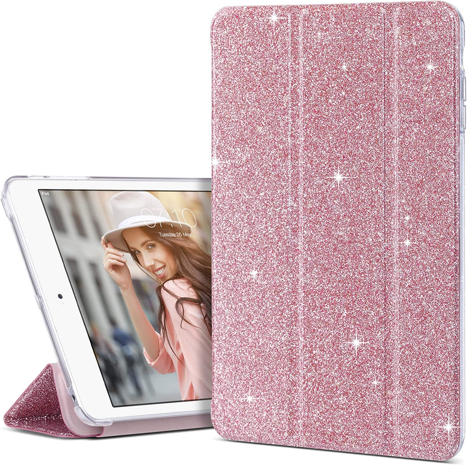 iPad Mini 3 Case, iPad Mini 2 Case, iPad Mini Case, ULAK Bling Sparkly Trifold Stand Smart Cover for Apple iPad Mini 1/2/3 Clear Back Cover Lightweight with Auto Sleep/Wake Function,Glitter Pink