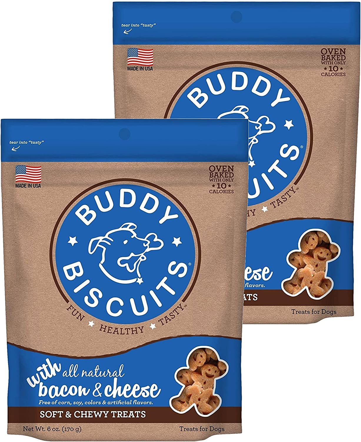 Buddy Biscuits Soft & Chewy Dog Treats with All Natural Bacon & Cheese (2 Pack) 6 oz Each