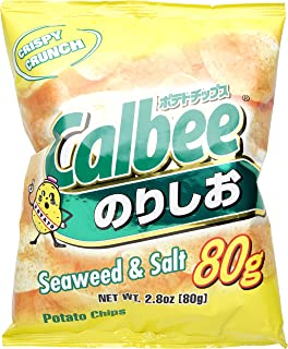 Calbee Potato Chips Seaweed and Salt, 2.8 oz (Pack of 3)