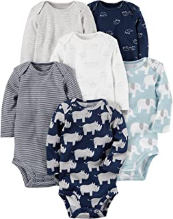 Carters 6-Pack Original Bodysuits (Blue Elephants, 9 Months)