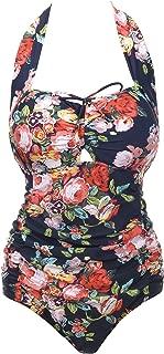 QZUnique Women's Retro Vintage One Piece Swimwear Floral Monokinis Plus Size