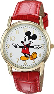 DISNEY Men's Mickey Mouse Analog-Quartz Watch with Leather-Synthetic Strap, red, 18 (Model: WDS000407)