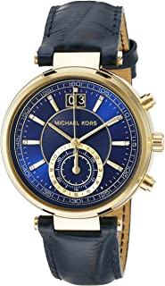 Michael Kors Womens Quartz Watch, Analog Display and Leather Strap MK2425