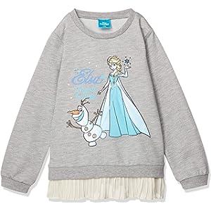 [ディズニー] 裾シフォンプリーツ ミニ裏毛 トレーナー 女の子 アナと雪の女王 ホワイト 日本 120 (日本サイズ120 相当)