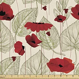 Ambesonne Poppy Flower Fabric by The Yard, Sketchy Tree Leaves Rural Floral Growth Botany Nature Inspired, Decorative Fabr...