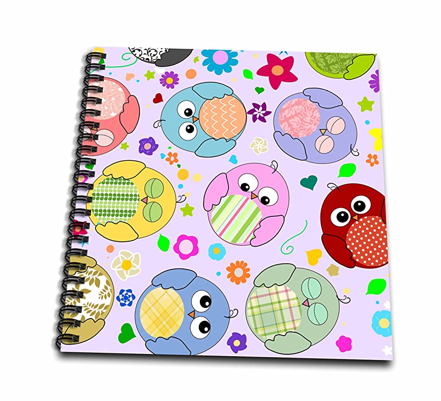 3dRose InspirationzStore Owl Designs - Cute Colorful Cartoon Owls with summery floral pattern - multicolored bird pattern on lilac purple - Drawing Book 8 x 8 inch (db_58296_1)