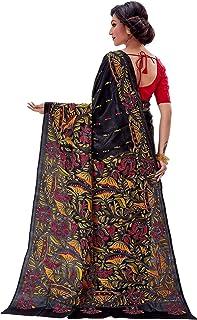 SareesofBengal Women's Pure Silk Handloom Kantha Stitch Saree Black