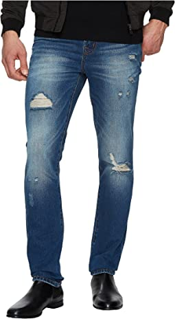 Liverpool - Slim Straight with Destruct in Rigid Denim in Waco Destruct
