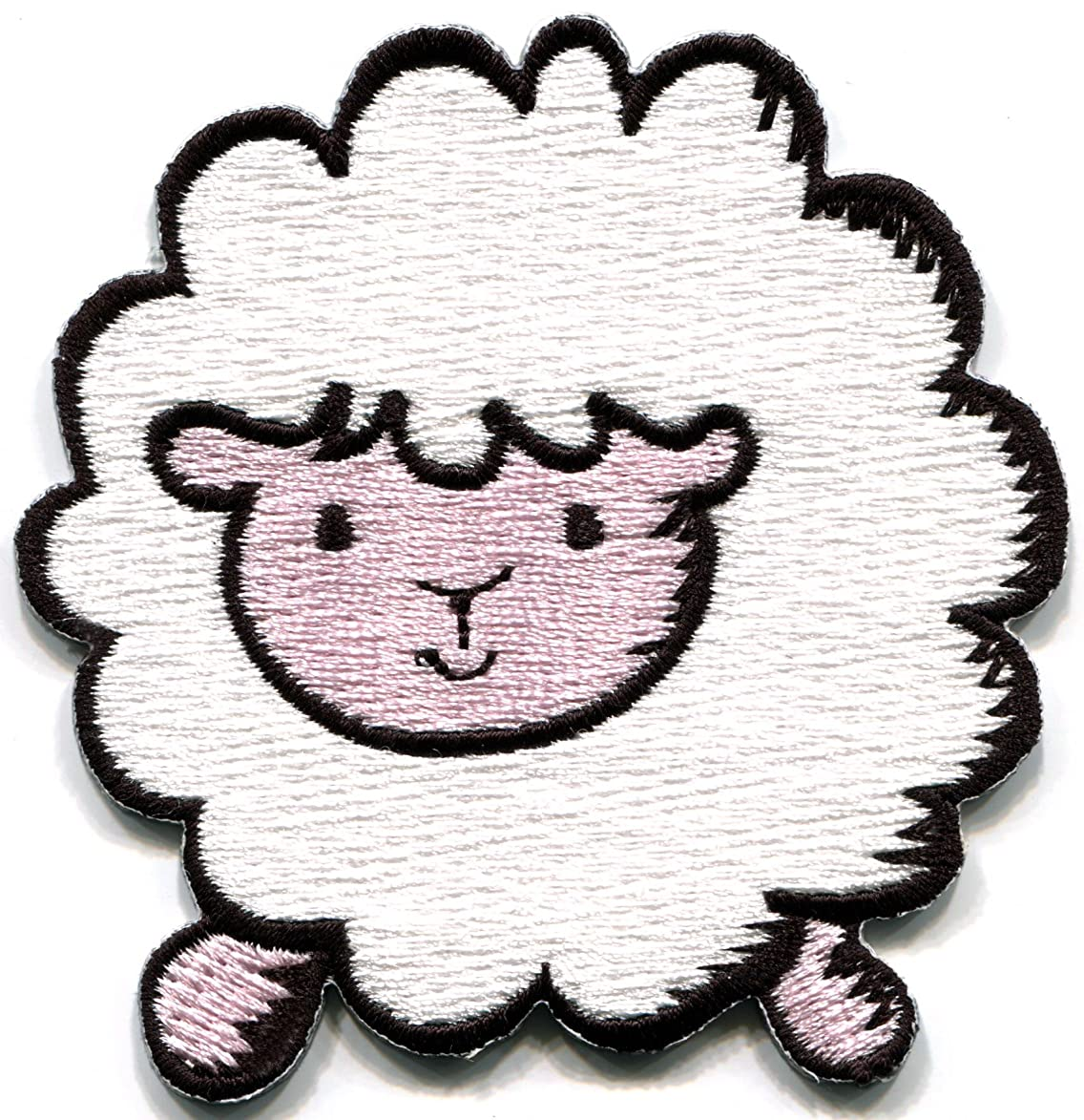 White sheep lamb ewe farm animal fun retro embroidered applique iron-on patch new kfc781994609218