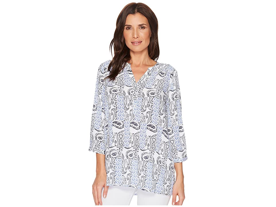 FDJ French Dressing Jeans Paisley Print Tab Up Sleeve Popover Top (Blue) Women