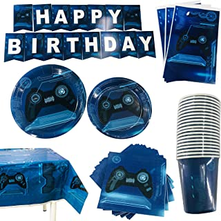 102 Piece Video Game Party Supplies Set - Serves 20 Gamers – Includes Banner, Plates, Cups, Napkins, Tablecloth, and Gift Bags – Gaming Birthday Party Bundle for Kids