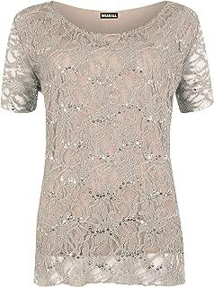 Women's Plus Size Lace Sequin Lined Ladies Party Crochet Top