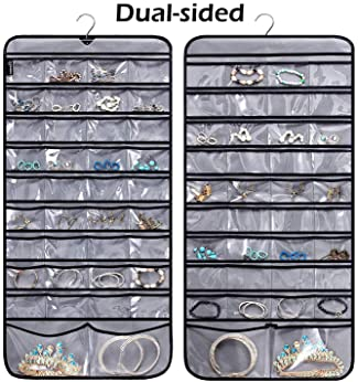 MISSLO Hanging Jewelry Organizer with Rotating Hanger Dual Sides 76 Pockets Accessories Storage for Holding Jewellery...