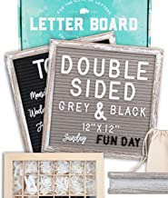 """Letter Board 12""""x12"""" Rustic Double Sided (Black & Gray) +690 PRE-Cut Letters +Bonus Cursive Words +Stand +Upgraded Wooden ..."""