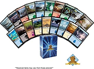 50 Random Basic Lands - 10 of Each Forest - Plains - Swamp - Island - Mountain! Includes Golden Groundhog Deck Box!