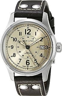 Hamilton Men's H70595523 Khaki Field Analog Swiss Automatic Brown Leather Watch