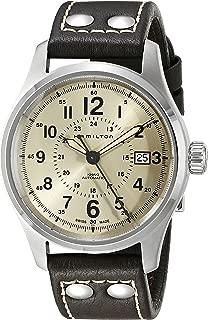 Men's H70595523 Khaki Field Analog Swiss Automatic Brown Leather Watch