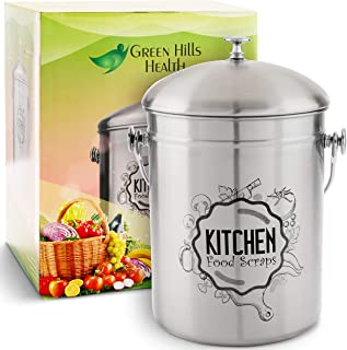 Kitchen Compost Bin Stainless Steel (Food Grade 410) Odorless Countertop Compost Pail -Bonus Charcoal Filters & Gardening ...