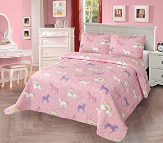 3pc Full/Queen Quilt Bedspread Set Kids/Teens Girls Unicorn Rainbow Pink Purple White New