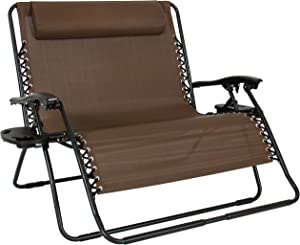 Best Choice Products 2-Person Double Wide Folding Zero Gravity Chair Patio Lounger w/Cup Holders -Brown