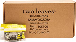 Two Leaves and a Bud Organic Tamayokucha Green Tea Bags, 100 Count, Organic Whole Leaf Moderate Caffeine Green Tea in Pyramid Sachet Bags, Delicious Hot or Iced with Milk, Sugar, Honey or Plain