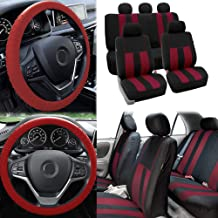 FH Group FB036115 Striking Striped Seat Covers Airbag & Split Ready, Burgundy/Black Color- Fit Most Car, Truck, SUV, or Van