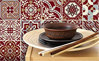Tiva Design Peel & Stick Eclectic Maroon RED Style of Tile Art Decals, Pack of 24, 4 by 4-inch Stickers. Creatively add Spark to Any Wall or Surface.