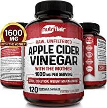 Apple Cider Vinegar Capsules with Mother 1600mg - 120 Vegan ACV Pills - Best Supplement for Healthy Weight Loss, Diet, Ket...