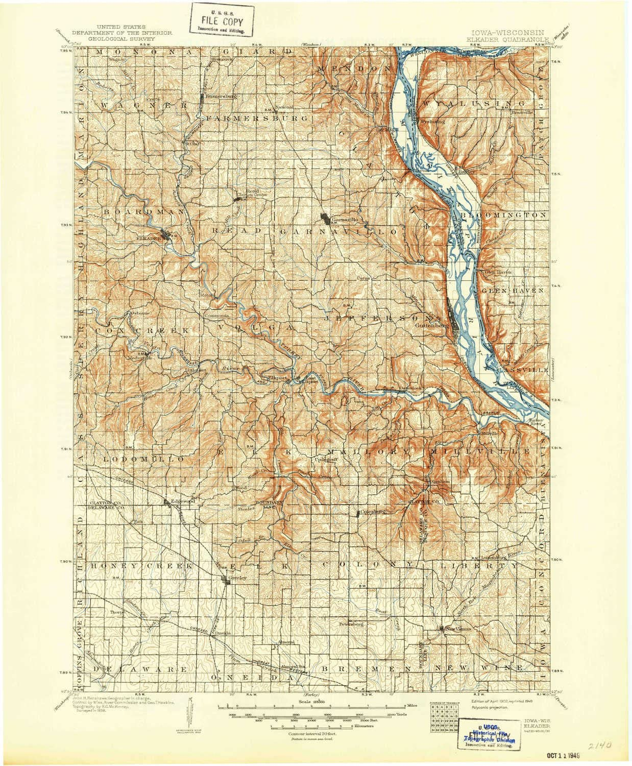 YellowMaps Elkader IA topo map Ranking Some reservation TOP17 Scale X 1:125000 Minute 30
