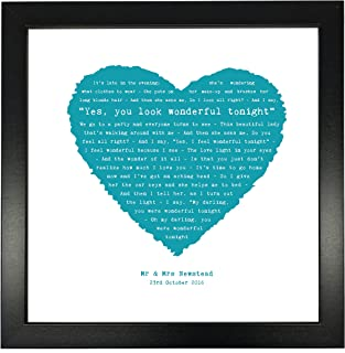 Eric Clapton, Wonderful Tonight Personalised Print Heart - Ideal Wedding Anniversary Personalized Romantic Gift - Fully Framed Box Frame